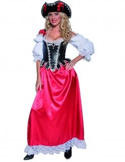 Piratin Kostüm Kleid schwarz-weiss-rot