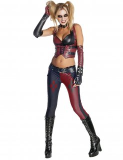 Harley Quinn™-Damenkostüm Lizenzartikel Batman Arkham City rot-schwarz