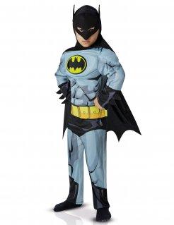 Muskulöses Batman™-Kinderkostüm Lizenzkostüm in Comic-Optik grau-schwarz