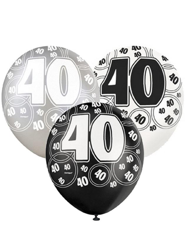 40 jahre ballons geburtstagsdeko jubil umsballons 6 st ck schwarz grau weiss 30cm g nstige. Black Bedroom Furniture Sets. Home Design Ideas