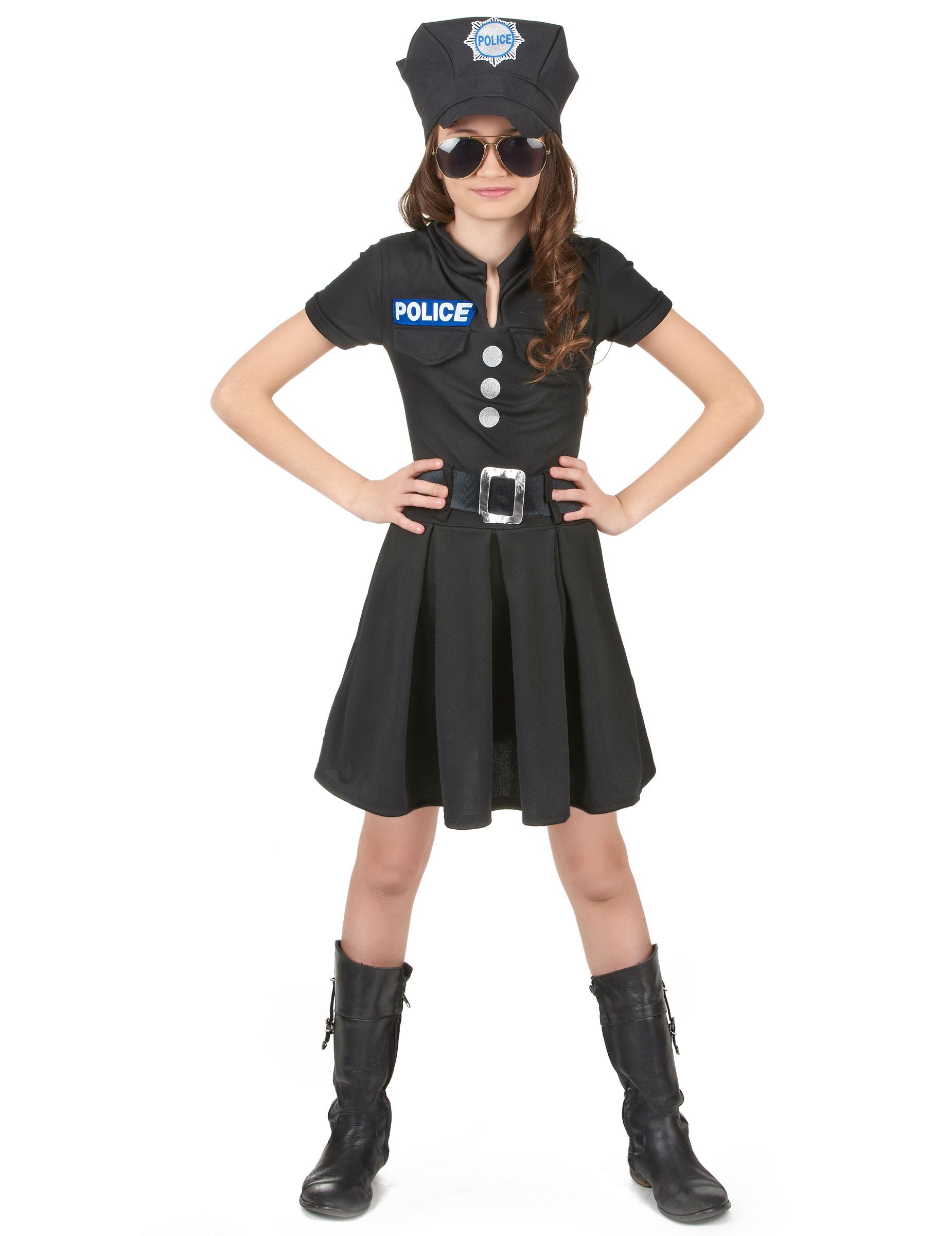 Kleine Polizistin Kinderkostüm Politesse schwarz-silber Cod.214569
