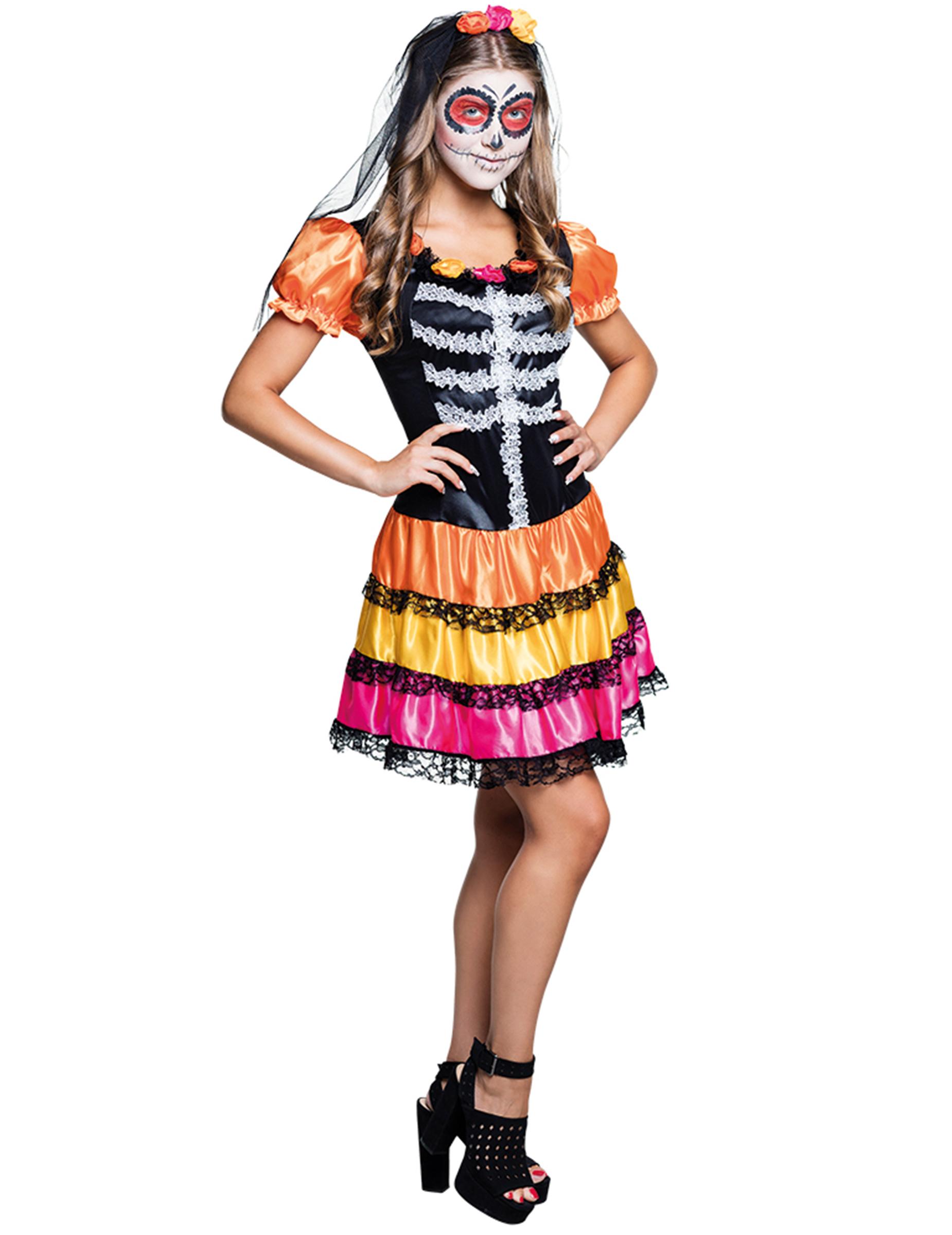 dia de los muertos teenager kost m skelett g nstige faschings kost me bei karneval megastore. Black Bedroom Furniture Sets. Home Design Ideas