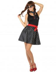 Rockabilly-Damen-Kostüm im Stil der 50er Jahre, schwarz