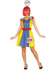 Pop-Art-Comic-Kostüm, Damen, blau-gelb