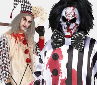 Pierrot Zombie Kostüm Damen Clownskostüm L 44//46 Clownkostüme Halloween Clown